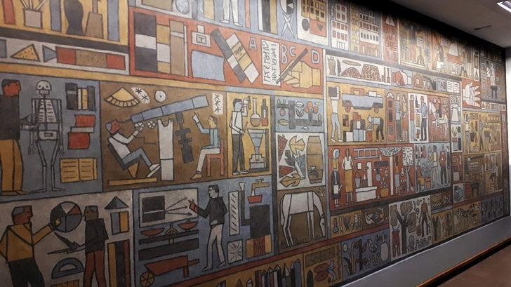 <em> Los ojos de Rosario</em>: Se restauró el mural «Oficios» de Julio Alpuy en el liceo Larrañaga