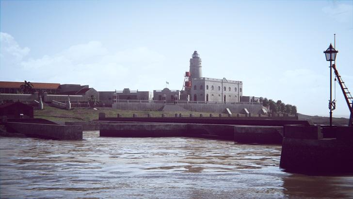 Cuarentena, cárcel y un faro: Reconstrucción virtual de la Isla de Flores