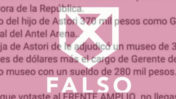 Es falsa la información que circula en Whatsapp sobre los sueldos de la familia Astori