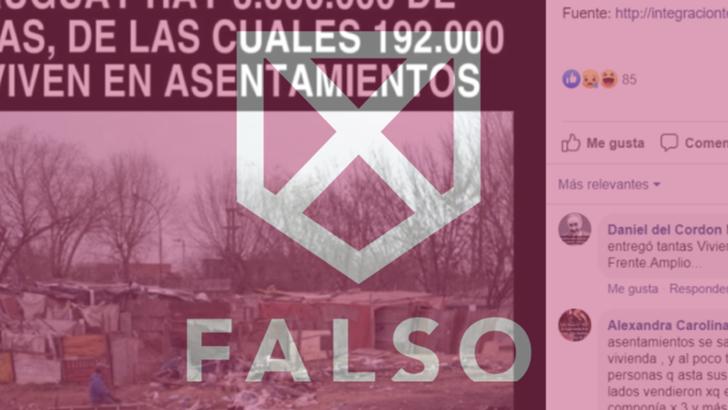 Es falso el posteo viral que indica que el 6.4% de los uruguayos vive en asentamientos