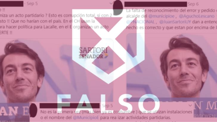 Es falso que el Municipio E haya organizado una recorrida con Juan Sartori por Malvín Norte