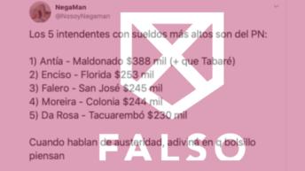Es falso que los intendentes con los sueldos más altos son del Partido Nacional