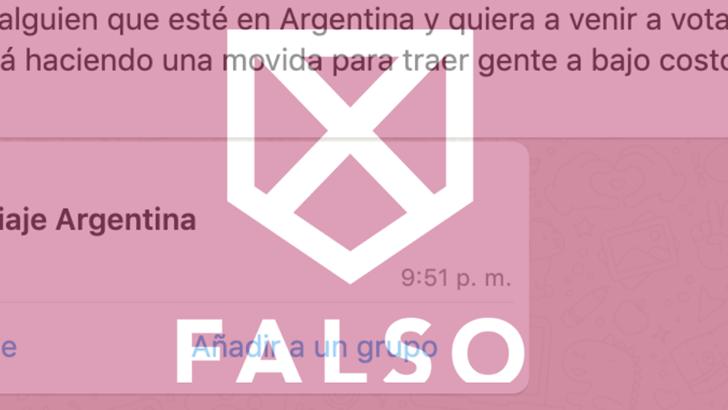 Es falso el mensaje de WhatsApp que convoca a uruguayos en Argentina a contactarse con el FA para votar en el balotaje