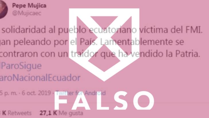Es falso que el expresidente José Mujica haya llamado «traidor» al presidente de Ecuador