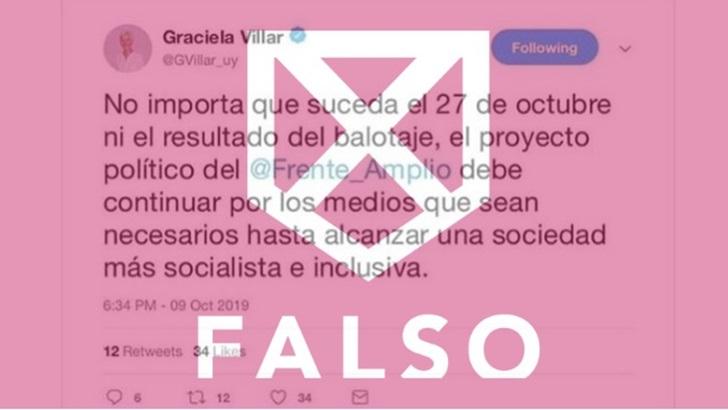 Es falso que Graciela Villar haya afirmado que el FA debe continuar en el poder «por los medios que sean necesarios»