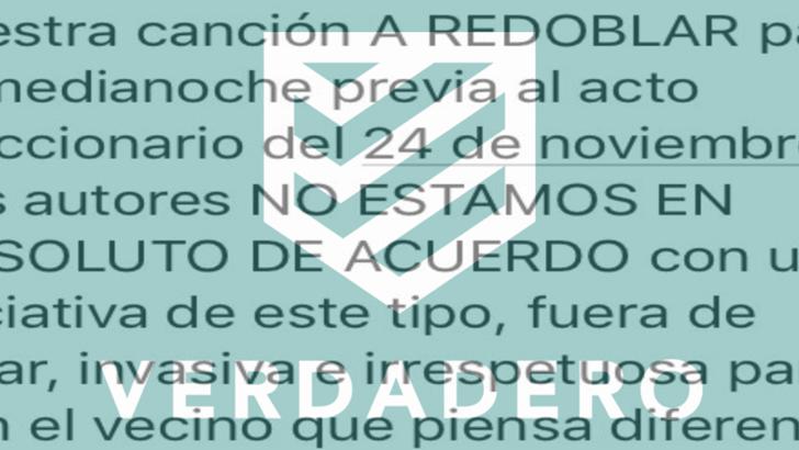 """Verdadero: los autores de """"A Redoblar"""" rechazan que se utilice la canción en un """"caceroleo"""" a favor del FA"""