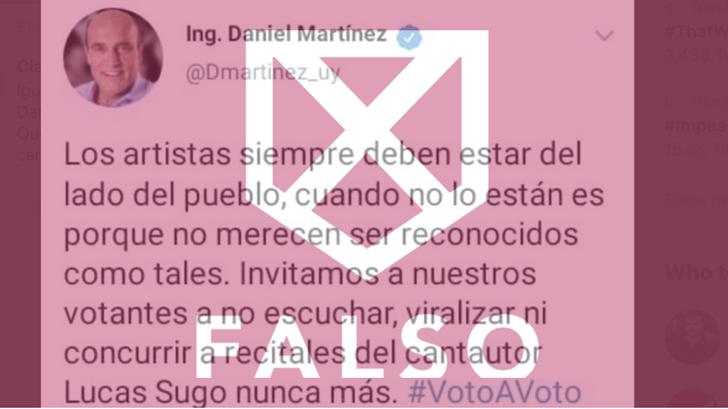 Así se construyó el tuit falso de Martínez sobre Lucas Sugo