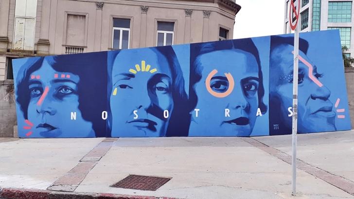 Los ojos de la radio: El mural Nosotras en la explanada del Teatro Solís, en el marco del mes de la mujer